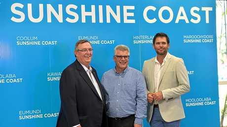 Sunshine Coast Airport, Tourism Noosa and Visit Sunshine Coast form a new partnership. David Ryan (L) from Visit Sunshine Coast, Peter Pallot from Sunshine Coast Airport and Steve McPharlin from Tourism Noosa