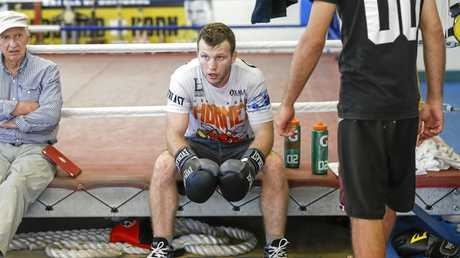 Jeff Horn during a final training session in Brisbane.