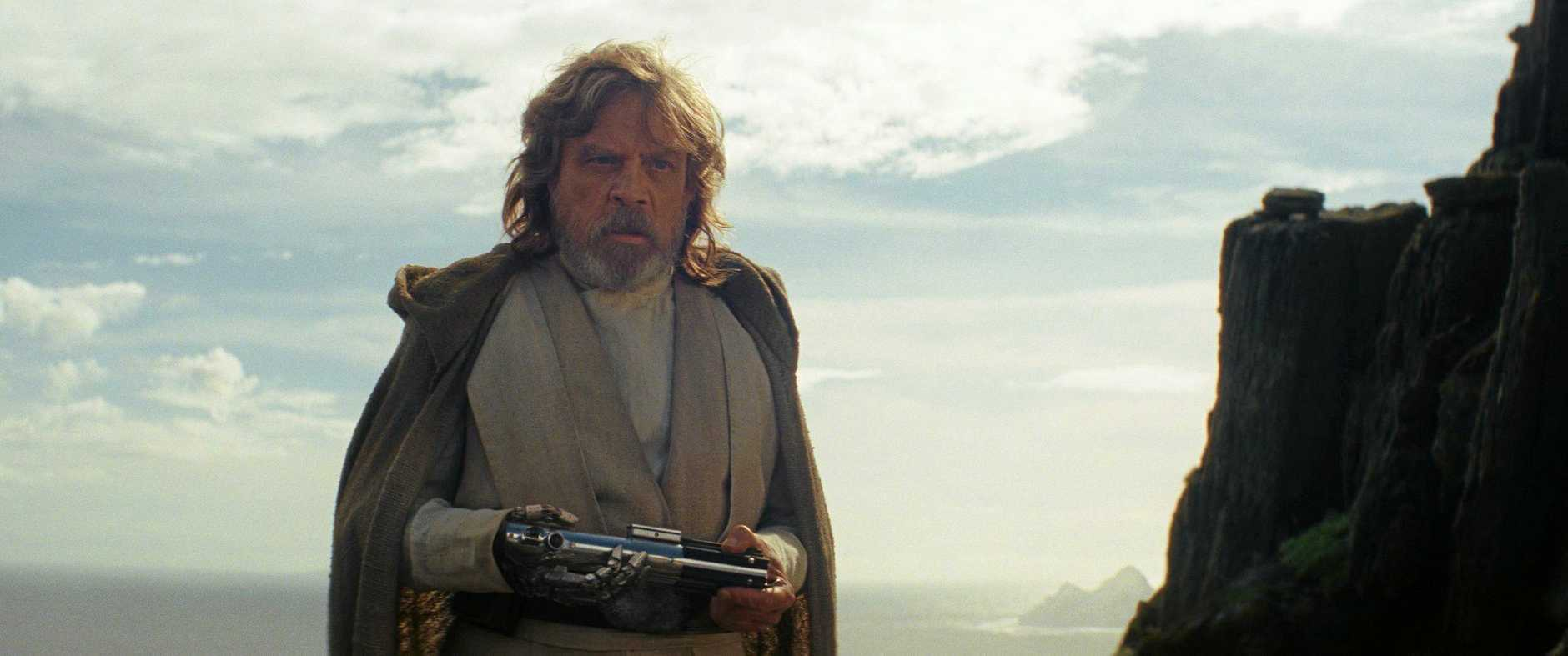 Mark Hamill as Luke Skywalker in a scene from the movie Star Wars: The Last Jedi. Supplied by Disney.