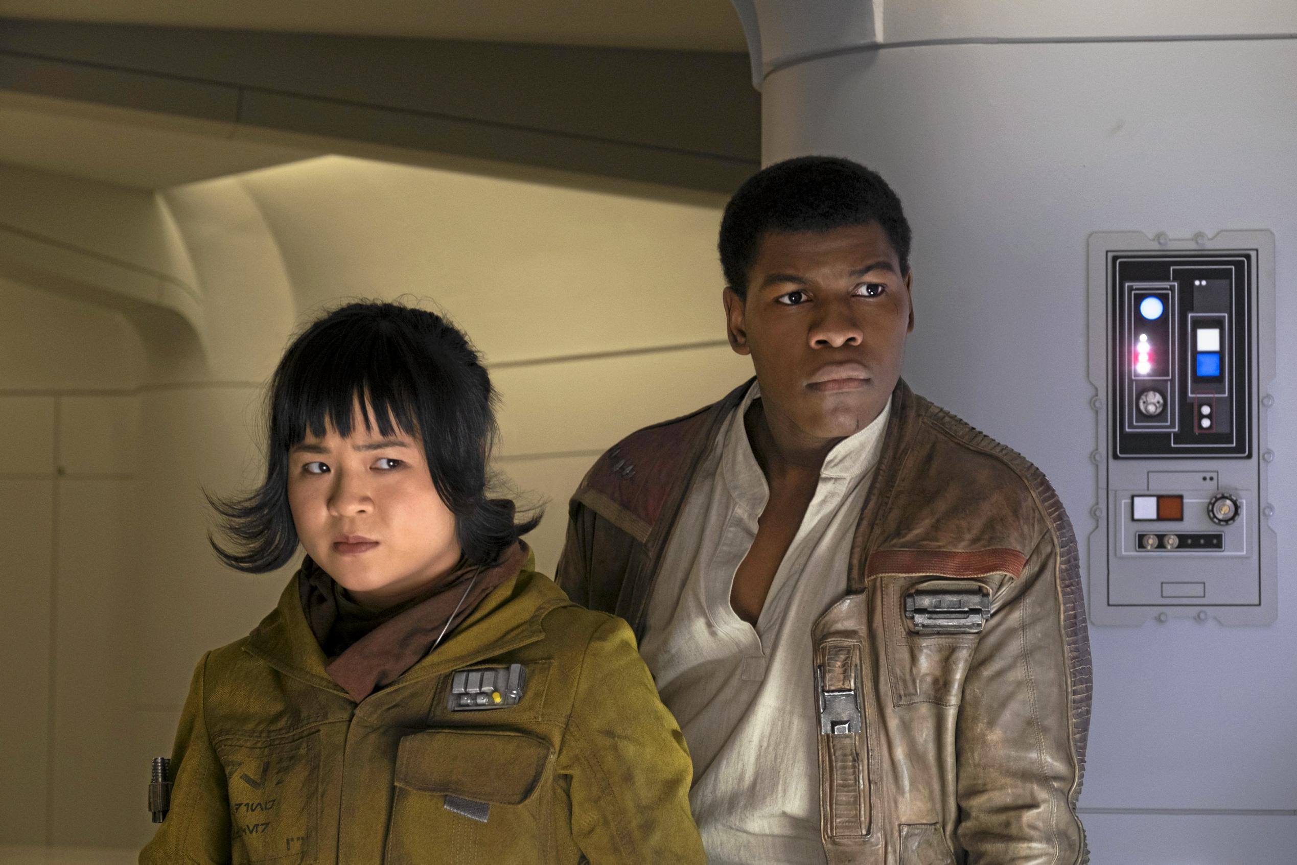 Kelly Marie Tran and John Boyega in a scene from the movie Star Wars: The Last Jedi. Supplied by Disney.