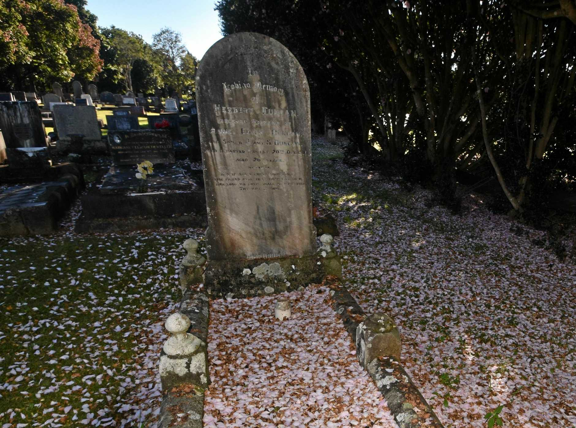 The engraving is fading on the life of Mr Herbert Duncan, at his grave in Alstonville cemetery.