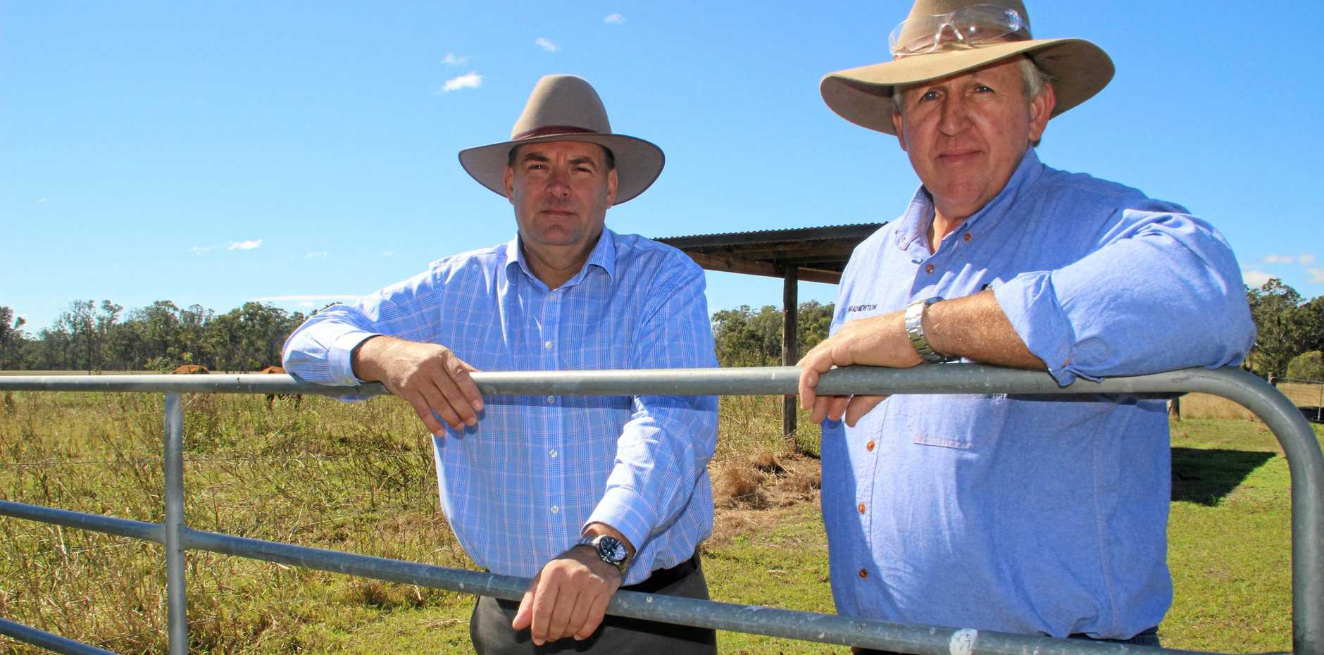 FEARFUL: Stephen Bennett and farmer Brad Newton have expressed fears about Labor's plans for the agriculture sector.