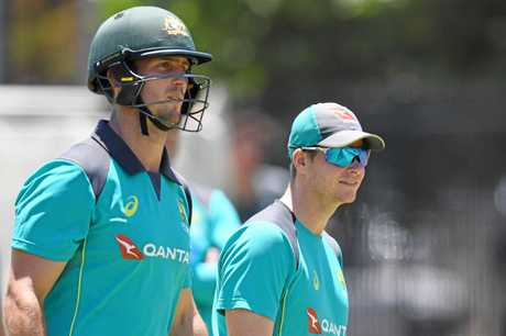 Mitch Marsh (left) with Australian captain Steve Smith during a training session at the WACA.