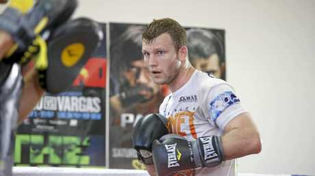 Jeff Horn is all focus during a training session.