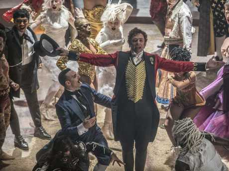 Hugh Jackman in a scene from The Greatest Showman — he is nominated for a Golden Globe for best actor in a motion picture comedy or musical.