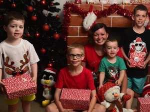 Jenna Buttery with Boyd Avery, 3, Baron Scott, 9, Bellamy Avery, 2, and Bryan Maunder-Scott, 10, knows how to budget for Christmas. Picture: Evan Morgan