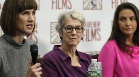 Rachel Crooks, Jessica Leeds and Samantha Holvey have called for a congressional investigation into Trump's alleged behaviour. Picture: AP Photo/Mark Lennihan