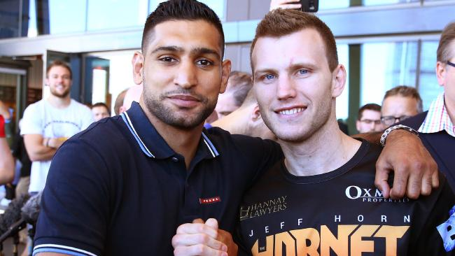 Amir Khan with Jeff Horn. Photo: Liam Kidston