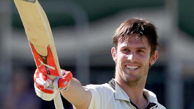Mitch Marsh celebrates after scoring a Sheffield Shield century against Queensland at the WACA in late November.