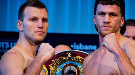 Jeff Horn (left) faces off with Gary Corcoran at the weigh-in. Picture: AFP
