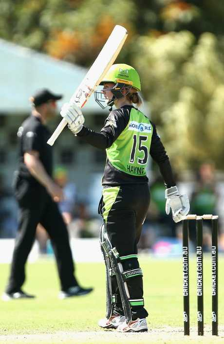 Sydney Thunder's Rachael Haynes celebrates her 50 against the Melbourne Stars