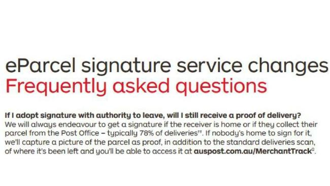 According to the Australia Post website, proof of delivery is captured with a shot of the parcel, not the person with it. Image: Australia Post website