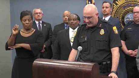 Interpreter Derlyn Roberts (left) made no sense to hearing-impaired viewers during a crucial police press conference about a serial killer case.