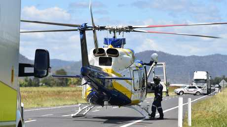 Man airlifted after single vehicle rollover on Cunningham Highway.
