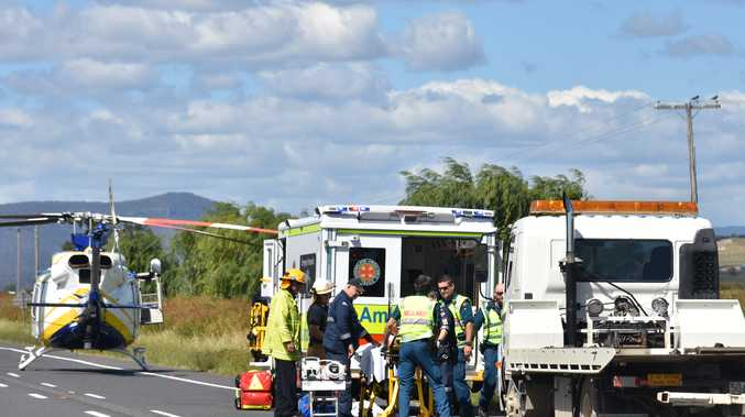 A man was airlifted to Brisbane after a high speed crash near the Eight Mile on the Cunningham Highway.