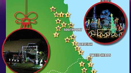 The Tweed and Gold Coast Christmas Lights Map 2017.