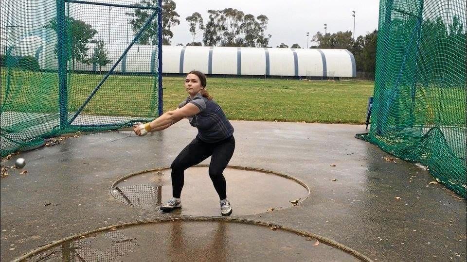 Ipswich hammer thrower Rochelle Vidler works on her technique during a recent national development camp in Canberra.