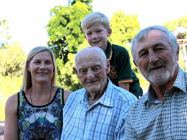 FOUR GENERATIONS: Norm Wren with son Trevor Wren, granddaughter Jane Kerridge and great grandson Ben Kerridge.