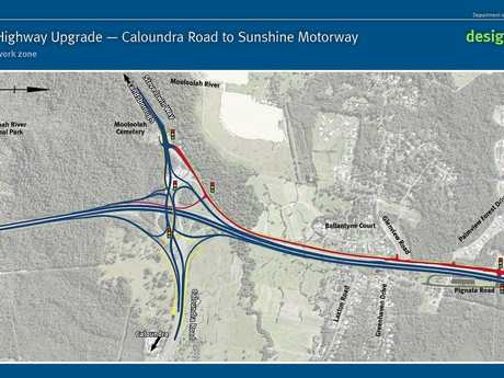 Southern work zone - Caloundra Road to Sunshine Motorway.