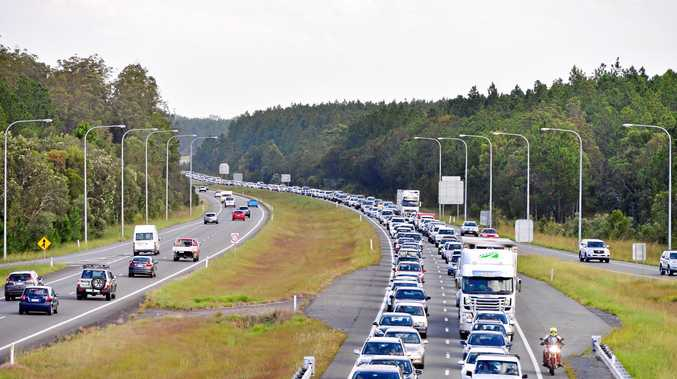 Backed up: Traffic congestion on the Bruce Highway near Roys Road.