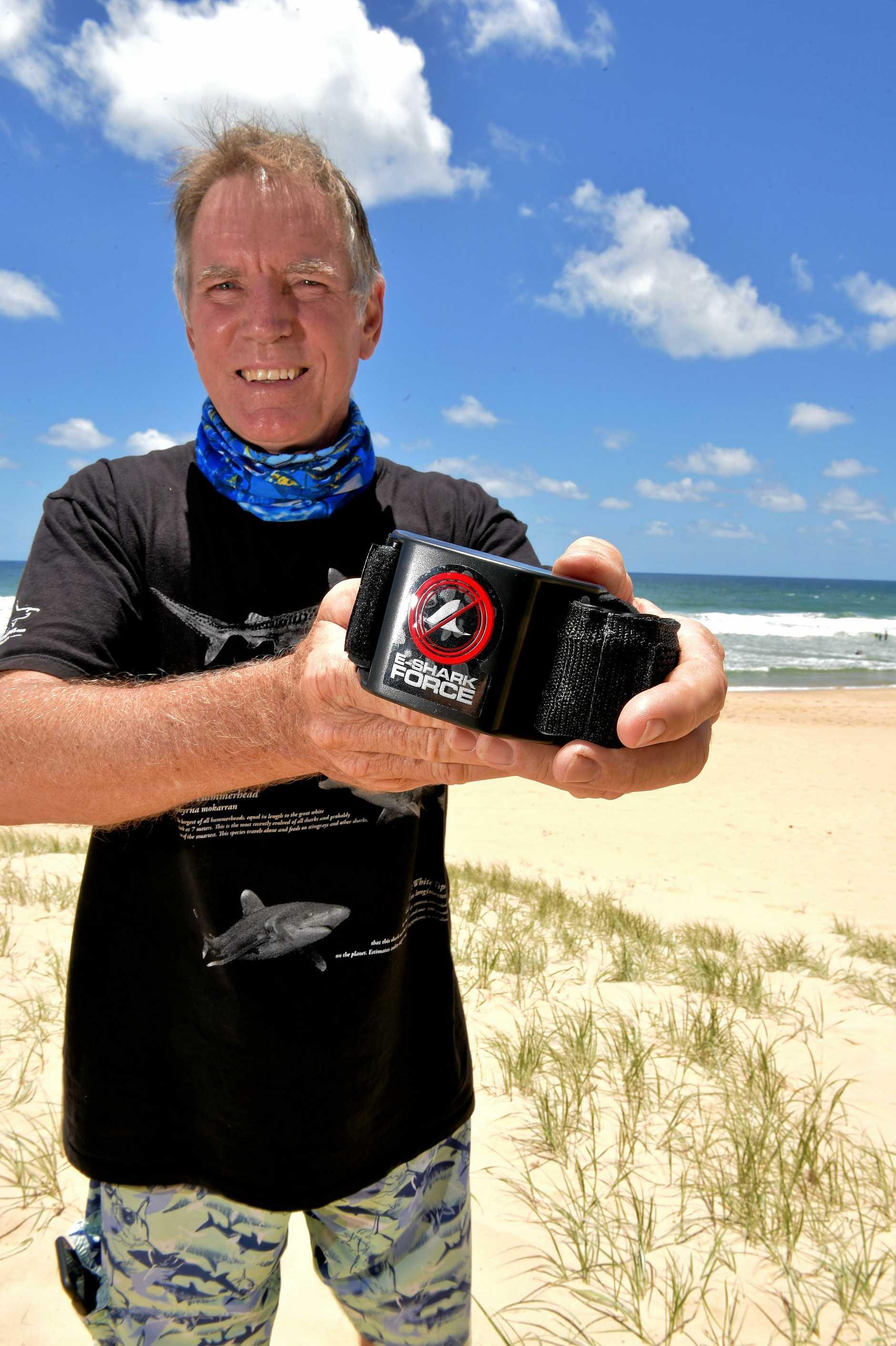 Tony Isaacson with the shark deterrent technology.