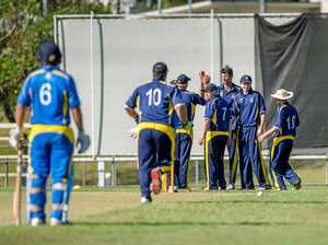 GOTCHA: Gympie celebrates a Nambour wicket. The Gold have secured back to back T20 titles after beating the Cutters on Tuesday.