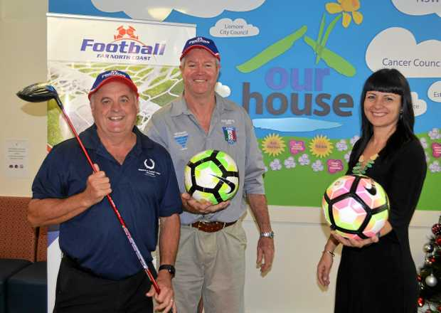 Peter Warren from sponsors Somerville Laundry Lomax, Italo Stars president Warren Walker and Rebekka Battista from Our House announce the inaugural Italo Stars Football Club Charity Golf Day.
