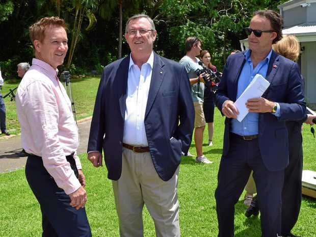 Badderam investment director Kim Carroll with Visit Sunshine Coast CEO Simon Latchford and Chair David Ryan at the site of the Badderam proposal.