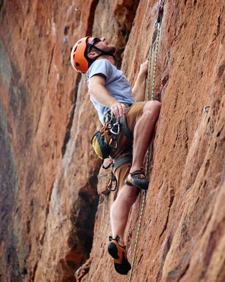 BIG EFFORT: Josh Worley climbing in the Blue Mountains. He's ready to tackle the world now.