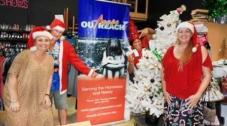 The crew from Agape Out Reach Op Shop at Tweed get in the swing of Christmas ; Tamsyn Kohleis, Jeff Lutter, Peter Petherbridge and Theresa Mitchell