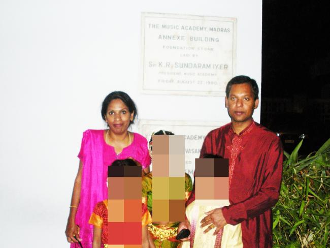Kumuthini (left) and Kandasamy Kannan, above in Chennai, allegedly left their 'slave' locked in their home when they holidayed in India.
