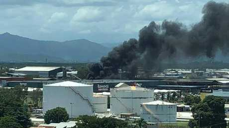 Black smoke billowing from a scrap metal workshop is clearly visible from the Cairns Regional Council chambers. Division 5 Councillor Richie Bates took this picture. PICTURE: RICHIE BATES
