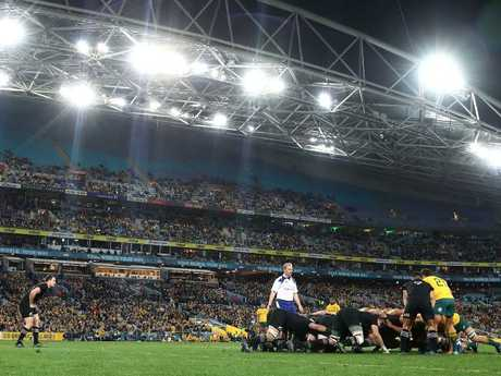 The Wallabies playing the All Blacks for the Bledisloe Cup at ANZ Stadium this year. Pic: Getty Images