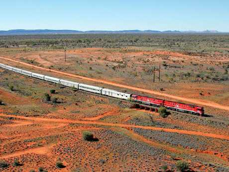 The Ghan travelling through outback Australia.