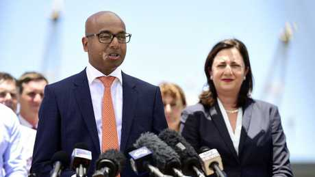 Adani Australia CEO Jeyakumar Janakaraj and Queensland Premier Annastacia Palaszczuk, speak with media at the Port of Townsville Warf 5 for the Adani Mine announcement. Picture: Wesley Monts