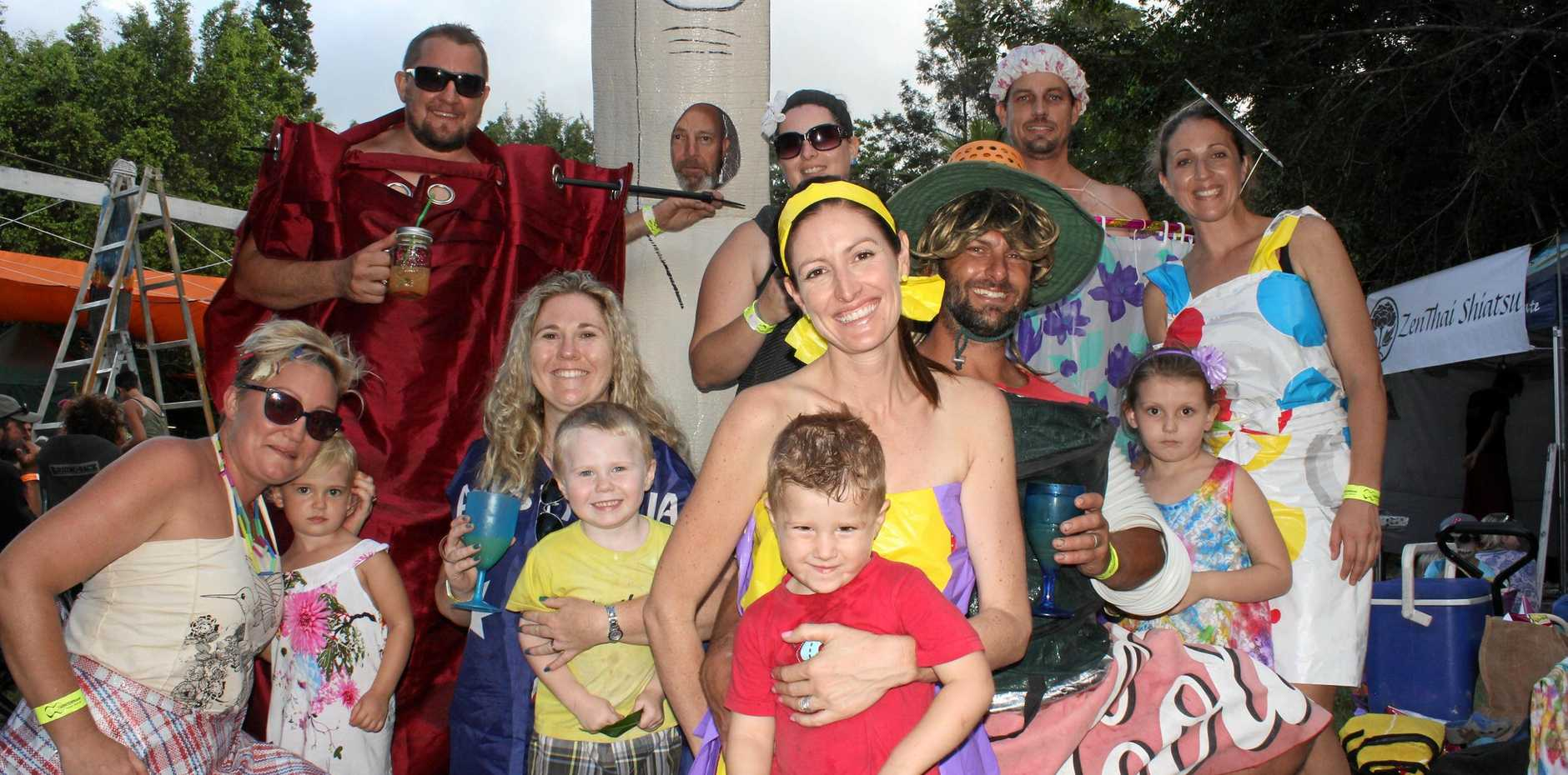 FAMILY FESTIVAL: Mel and Neave Mclaren with Chantal and Nash Burrows, Kylie Sheperd-Smith, Nate Armitage, Mark Sheperd, Sera Armitage, Charlotte Tatterson, Dean Armitage, Jim McLaren and Michelle and Brett Tatterson at last year's festival.