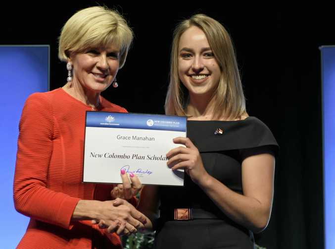 NEW OPPORTUNITIES: Foreign Affairs Minister Julie Bishop (left) awards Grace Manahan with a New Colombo Plan scholarship.