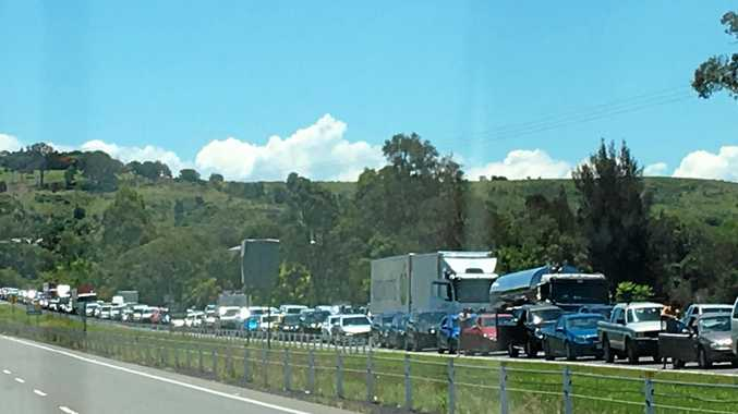GRIDLOCK: Motorists found themselves stranded near the scene of a fatal crash on Saturday.