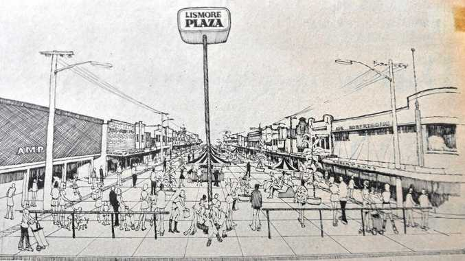 An artists impression of the Lismore Plaza proposal raised in 1974 along Molesworth Street. The artist was Vic Yeates of Tregeagle.