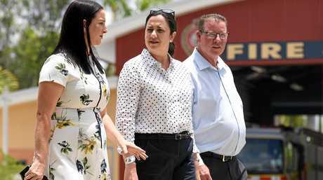 Queensland Premier Annastacia Palaszczuk (centre), Labor's member for Rockhampton Barry O'Rourke (right), and Labor's member for Keppel, Brittany Lauga.
