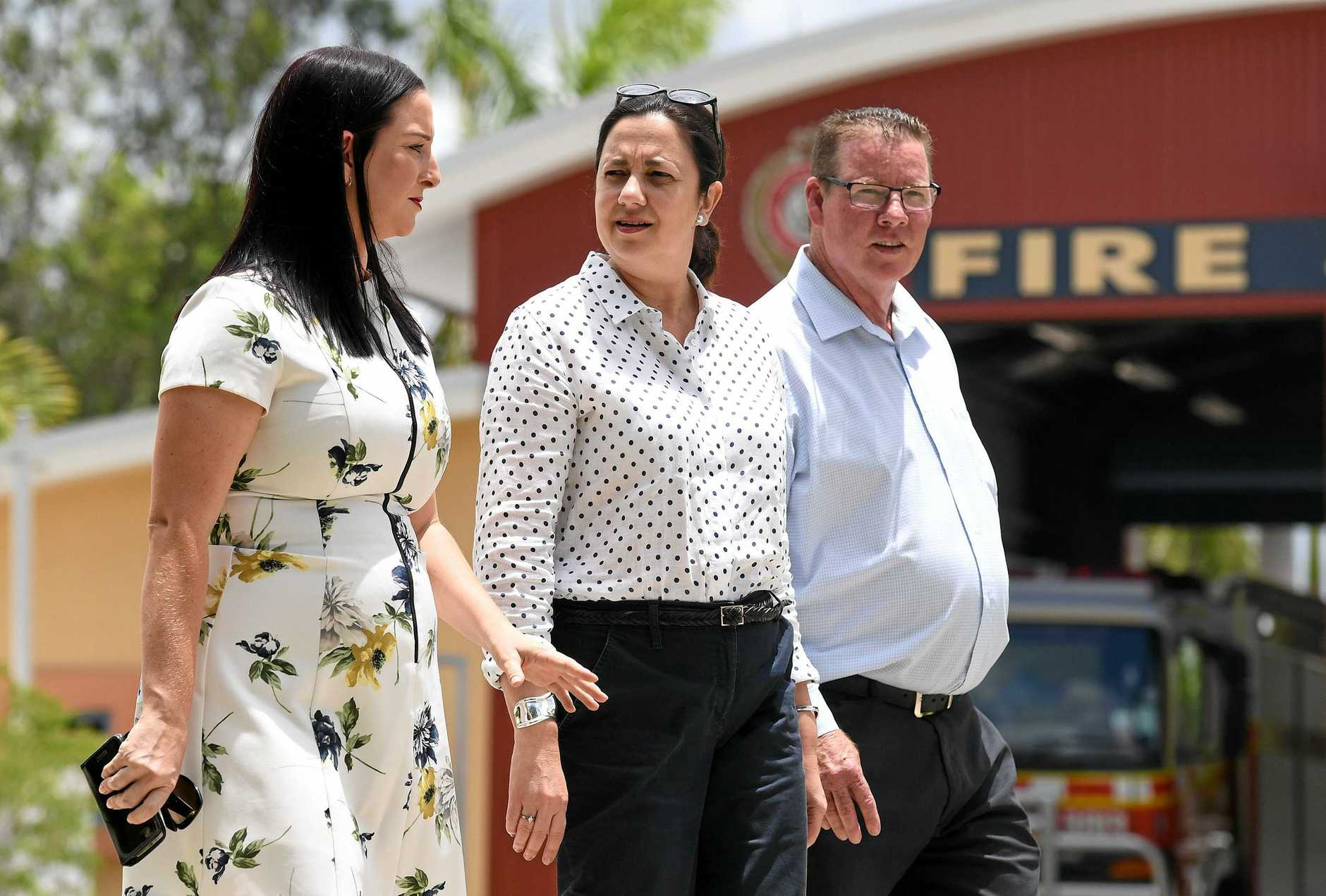Queensland Premier Annastacia Palaszczuk (centre), Labor's candidate for Rockhampton Barry O'Rourke (right), and Labor's candidate for Keppel, Brittany Lauga, visit a Fire and Rescue station in Rockhampton, Tuesday, November 21, 2017. Ms Palaszczuk is on the campaign trail ahead of the November 25 state election. (AAP Image/Dan Peled) NO ARCHIVING