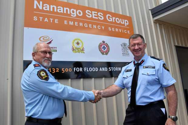 GOOD JOB: SES area commander Arthur Dawson with QFES Assistant Commissioner Peter Jeffrey.