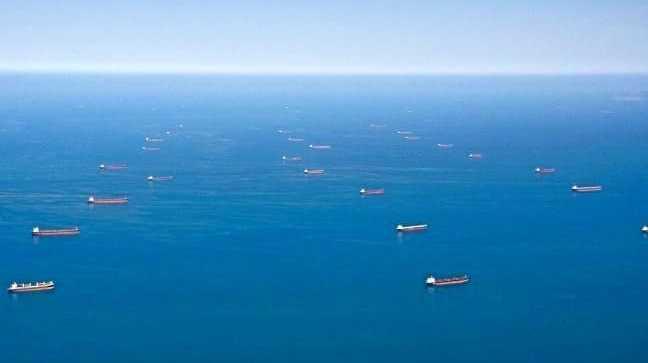 Coal ships queue in Dalrymple Bay waiting to load at Mackay.