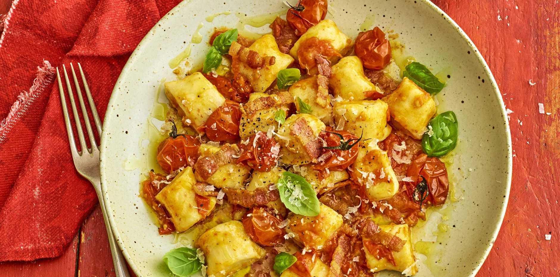 The Gnocchi Horror Picture Show: ricotta gnocchi with bacon and tomato sauce.