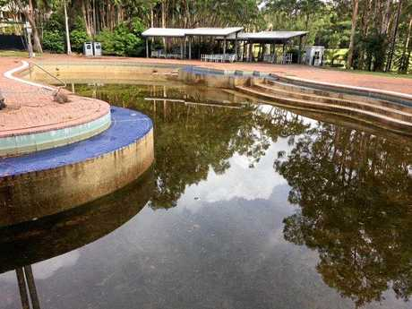 The main swimming pool at the Palmer Coolum Resort is looking green.