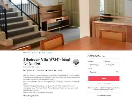 Palmer Coolum Resort units and villas are listed on Airbnb.