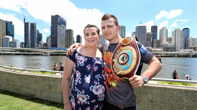 HAPPY COUPLE: Jeff Horn with wife Jo in Brisbane yesterday.