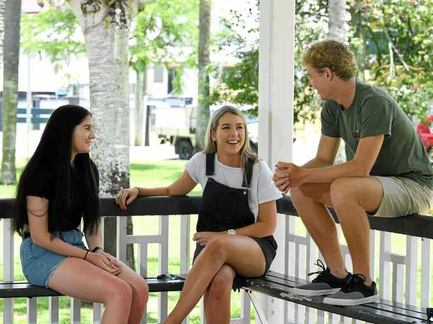 FUTURE BECKONS: St Patrick's College graduates Erin Dobson, Emily Kapernick and Zack Lindenberg consider their options.