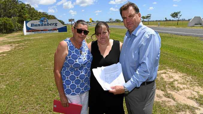 WALKERS LAW: Kerri Walker, Trisha Mabley and Member for Burnett Stephen Bennett with the petition, which has more than 4500 signatures.