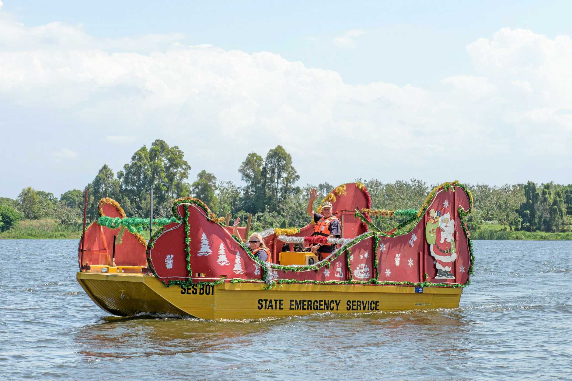 The Grafton SES decorated sleigh boat that will take Santa on his yearly trip down the Clarence.
